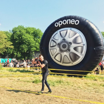 Unusual giant advertising balloon in the shape of an Oponeo tire