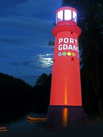 The Port of Gdansk inflatable lantern - a dedicated advertising balloon shape with backlight.