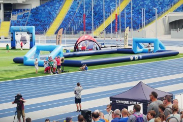 Inflatable football field and goals at the Silesian Stadium in Chorzów