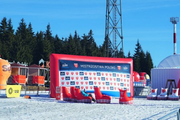 A multifunctional advertising screen that serves as a wall to award ceremony during the Polish Championships.