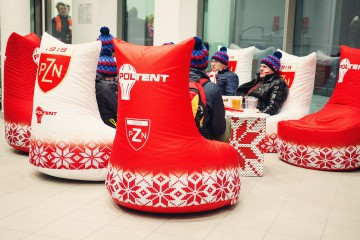 Seats with soft filling in the chillout zone during ski jumping.