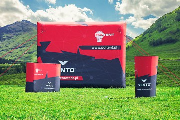 Inflatable counter (stand), event table and advertising screen from the VENTO line