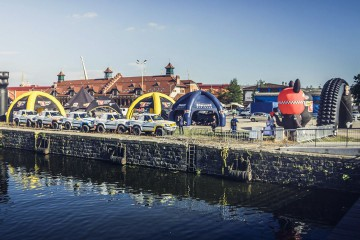 Tent park in Szczecin (4-legged Spiders tents, VENTO tents, rally mascot, tire-shaped gate)