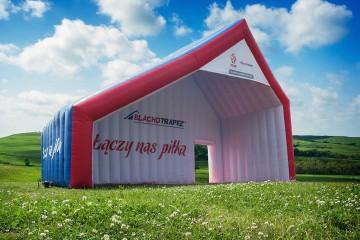 Unusual advertising tent Blachotrapez